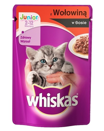 WHISKAS Junior marhahús szószban 100g