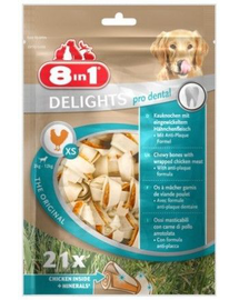 8IN1 Jutalomfalat Dental Delights Bones XS 21 db