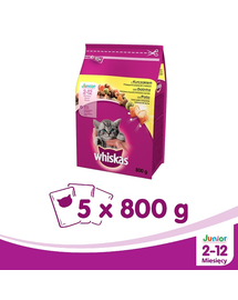 WHISKAS Junior csirkével 800g x 5