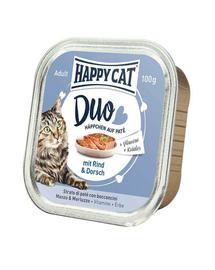 HAPPY CAT Duo Pástétomos falatkák, marhahús és tőkehal 100 g