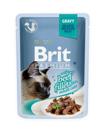 BRIT Premium Cat Fillets in Gravy wołowina 85g