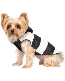 Doggy Dolly Kurtka w paski z futerkowym kapturem, czarno/biała, M 28-30 cm/41-43 cm